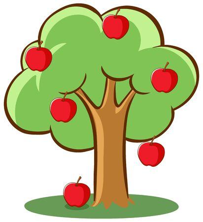 Ilustración de Apple tree on white background illustration - Imagen libre de derechos