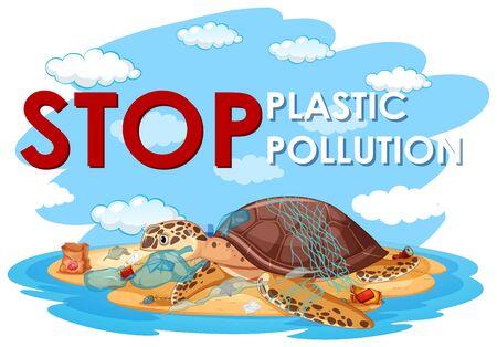 Illustration pour Poster design with sea turtle and plastic bags on beach illustration - image libre de droit