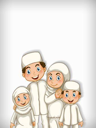 Illustration pour Background template design with happy muslim family illustration - image libre de droit