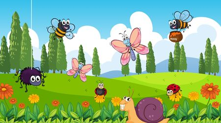 Illustration pour Nature scene background with many insects in the park illustration - image libre de droit