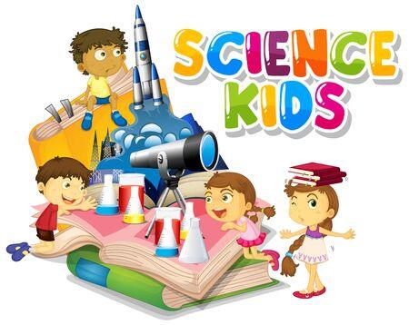 Illustration pour Font design for word science kids with happy children in background illustration - image libre de droit