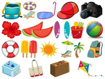 Illustration pour Large set of different summer objects on white - image libre de droit