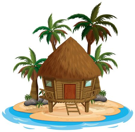 Illustration pour Scene with wooden house on the beach on white background illustration - image libre de droit
