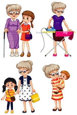 Illustration for Set of grandmother character illustration - Royalty Free Image