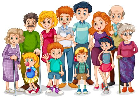 Illustration pour Family members with children and all relatives illustration - image libre de droit