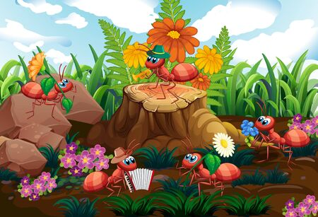 Illustration pour Ant musical band playing in forest illustration - image libre de droit