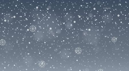 Illustration pour Background design template with snow falling in gray sky illustration - image libre de droit