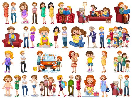 Illustration for Group of family member characters illustration - Royalty Free Image