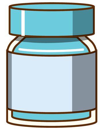 Illustration pour Blue watercolor in bottle on white background illustration - image libre de droit