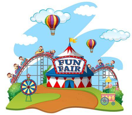 Illustration pour Scene with monkeys riding carts in fun fair on white background illustration - image libre de droit