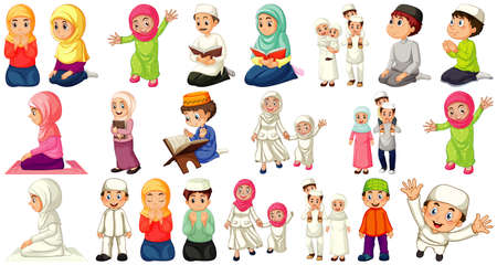 Illustration pour Set of different muslim people cartoon character isolated on white background illustration - image libre de droit