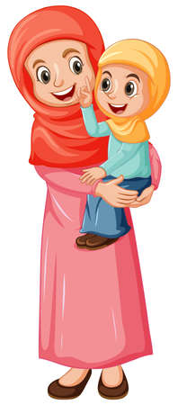 Illustration pour Arab muslim mom and daughter in traditional clothing isolated on white background illustration - image libre de droit
