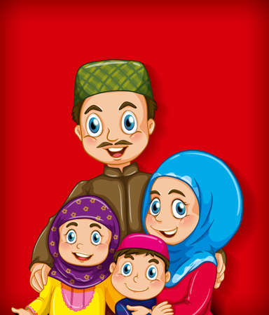 Illustration for Muslim family member on cartoon character colour gradient background illustration - Royalty Free Image