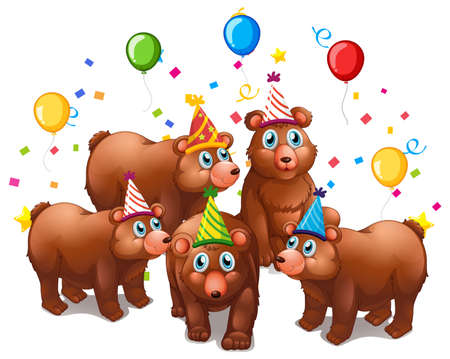 Illustration for Bear group in party theme cartoon character on white background illustration - Royalty Free Image