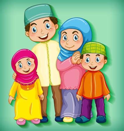 Illustration pour Muslim family member on cartoon character colour gradient background illustration - image libre de droit