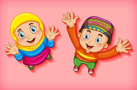 Illustration pour Happy muslim children from aerial view illustration - image libre de droit