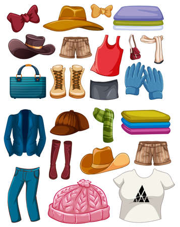 Illustration for Set of fashion outfits and accessories on white background illustration - Royalty Free Image