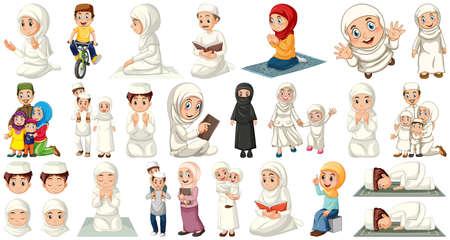 Illustration pour Set of muslim kids character illustration - image libre de droit