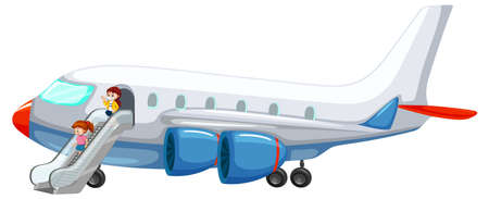 Illustration for People getting off the plane illustration - Royalty Free Image