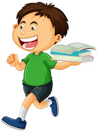 Ilustración de Happy boy holding books isolated illustration - Imagen libre de derechos