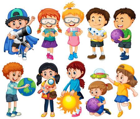 Illustration pour Group of children cartoon character illustration - image libre de droit