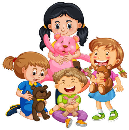Illustration for Group of young children cartoon character on white background illustration - Royalty Free Image