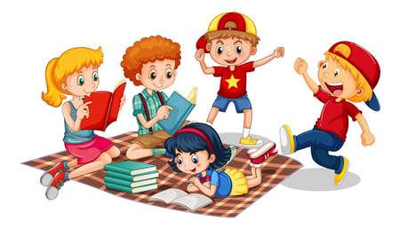 Illustration pour Group of young children cartoon character on white background illustration - image libre de droit