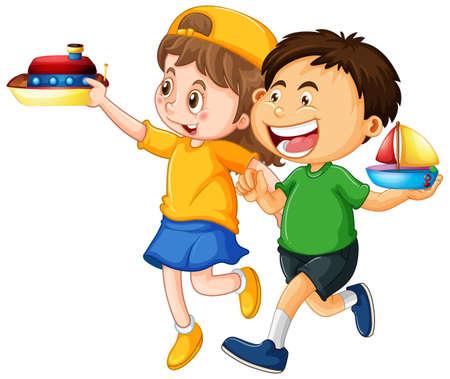Illustration pour Happy children playing toys illustration - image libre de droit