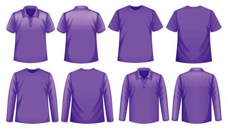 Illustration for Set of different types of shirt in same color illustration - Royalty Free Image