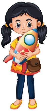 Ilustración de Happy girl holding rocket toy illustration - Imagen libre de derechos