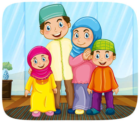 Illustration for Cute muslim family cartoon character illustration - Royalty Free Image