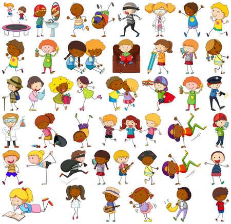 Illustration for Set of different doodle kids cartoon character illustration - Royalty Free Image