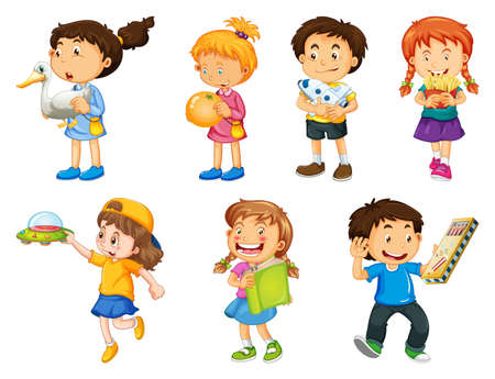 Illustration for Set of different kid playing with their toys cartoon character isolated on white background illustration - Royalty Free Image