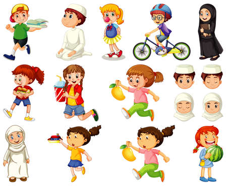 Illustration for Children doing different activities cartoon character set on white background illustration - Royalty Free Image