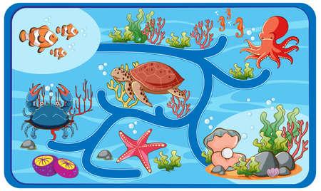 Illustration pour Cute cartoon maze game template illustration - image libre de droit