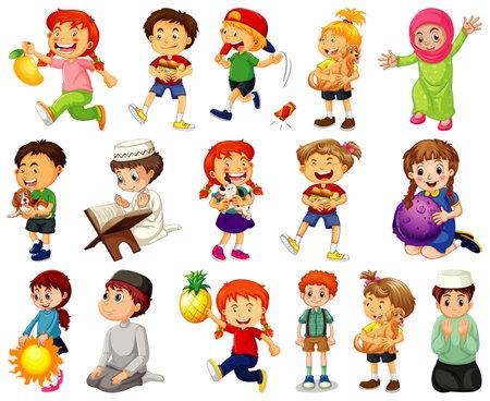 Ilustración de Children doing different activities cartoon character set on white background illustration - Imagen libre de derechos