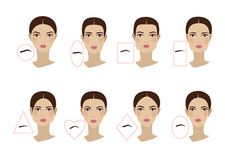 Photo pour Female eyebrow shapes in accordance with the shape of the face. Flat design. Vector illustration - image libre de droit