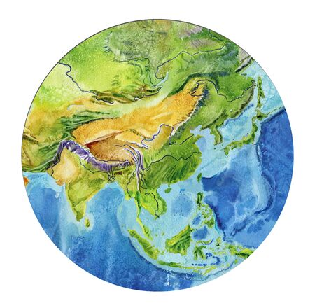 Photo pour Geographical map of the world. Fragment Asia, Indonesia, India, China, in a round shape. Realistic watercolor drawing. - image libre de droit