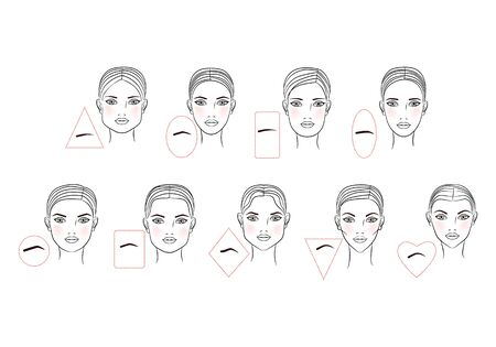 Photo pour Female eyebrow shapes in accordance with the shape of the face. Line art design. Vector illustration - image libre de droit