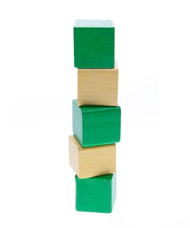 Colorful Wooden building blocks stacked on each other