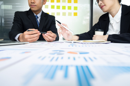 Photo for Young startup businessmen teamwork brainstorming meeting to discuss the new project investment. - Royalty Free Image