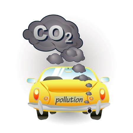 yellow car pollution icon