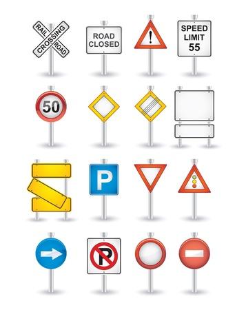 danger road signs set
