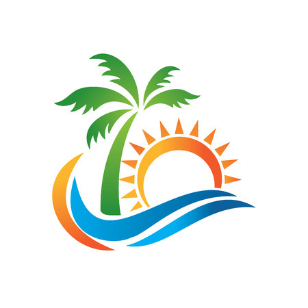 Ilustración de Logo for travel agency tropical resort beach hotel spa. Summer vacation symbol. Logo of travel agency isolated on white background. A symbol of vacation, travel and recreation in warm countries. - Imagen libre de derechos