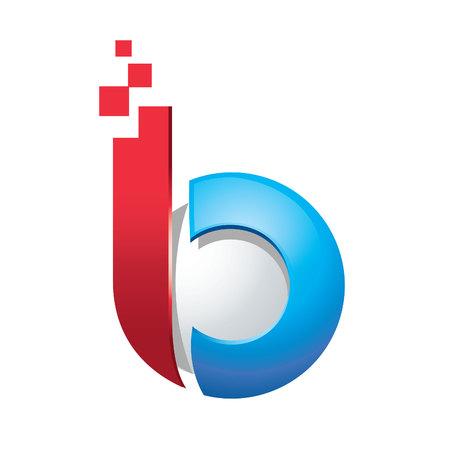 Business corporate letter B  3d logo design vector.