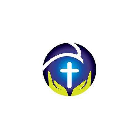 Praying hand holding cross. Religion, Church vector logo