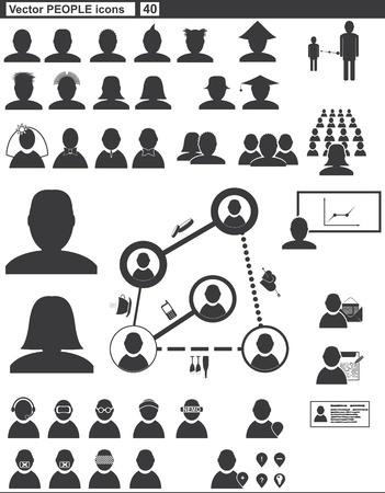 Vector set web icons  people communication