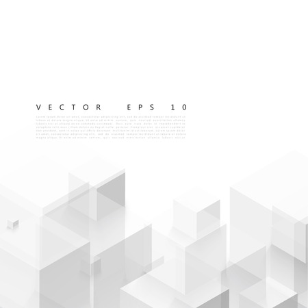 Ilustración de Vector Abstract geometric shape from gray cubes. - Imagen libre de derechos