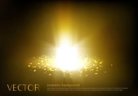 Vector illustration of a golden light ray with glitter, a glow effect, an explosion, a flash on a black background. Advertising poster template for promotion of cosmetic products
