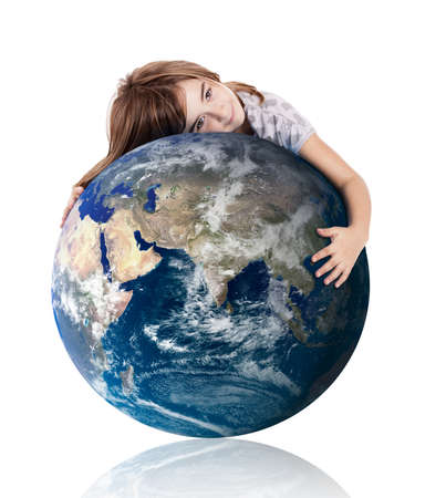 Little girl hugging the planet earth over a white background